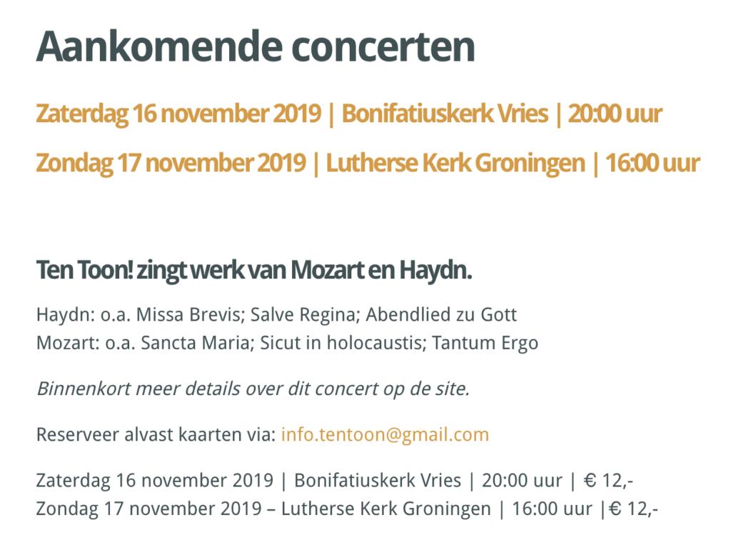 Concerten in november 2019